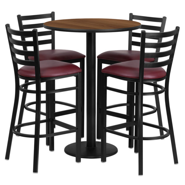 Lowest Price 30'' Round Walnut Laminate Table Set with Round Base and 4 Ladder Back Metal Barstools - Burgundy Vinyl Seat