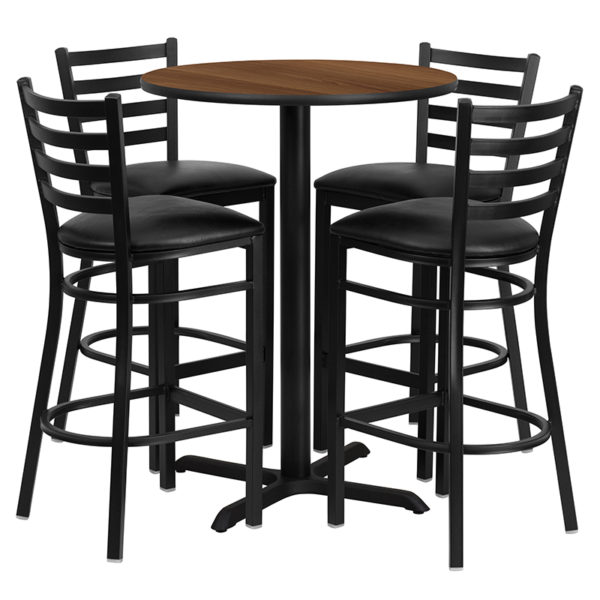 Lowest Price 30'' Round Walnut Laminate Table Set with X-Base and 4 Ladder Back Metal Barstools - Black Vinyl Seat