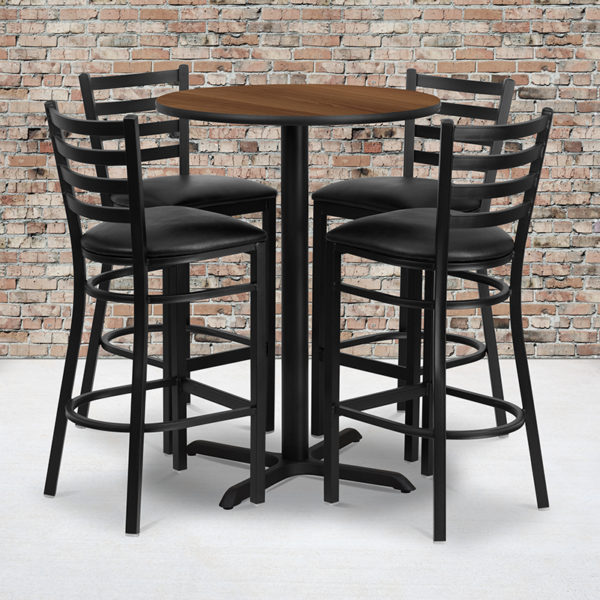 Wholesale 30'' Round Walnut Laminate Table Set with X-Base and 4 Ladder Back Metal Barstools - Black Vinyl Seat