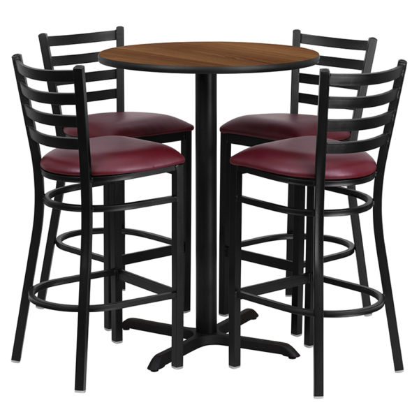 Lowest Price 30'' Round Walnut Laminate Table Set with X-Base and 4 Ladder Back Metal Barstools - Burgundy Vinyl Seat