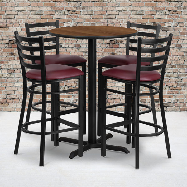 Wholesale 30'' Round Walnut Laminate Table Set with X-Base and 4 Ladder Back Metal Barstools - Burgundy Vinyl Seat