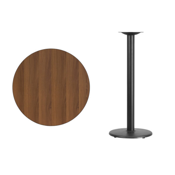 Lowest Price 30'' Round Walnut Laminate Table Top with 18'' Round Bar Height Table Base