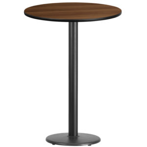 Wholesale 30'' Round Walnut Laminate Table Top with 18'' Round Bar Height Table Base