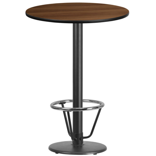 Wholesale 30'' Round Walnut Laminate Table Top with 18'' Round Bar Height Table Base and Foot Ring