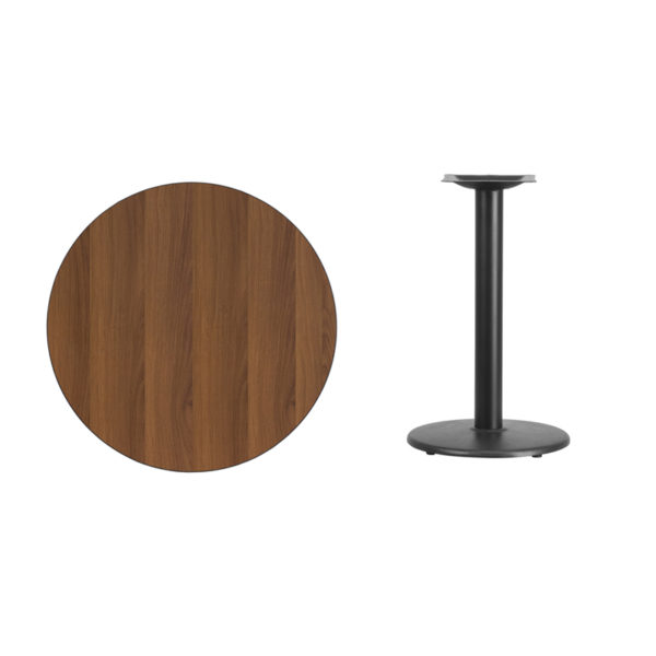 Lowest Price 30'' Round Walnut Laminate Table Top with 18'' Round Table Height Base
