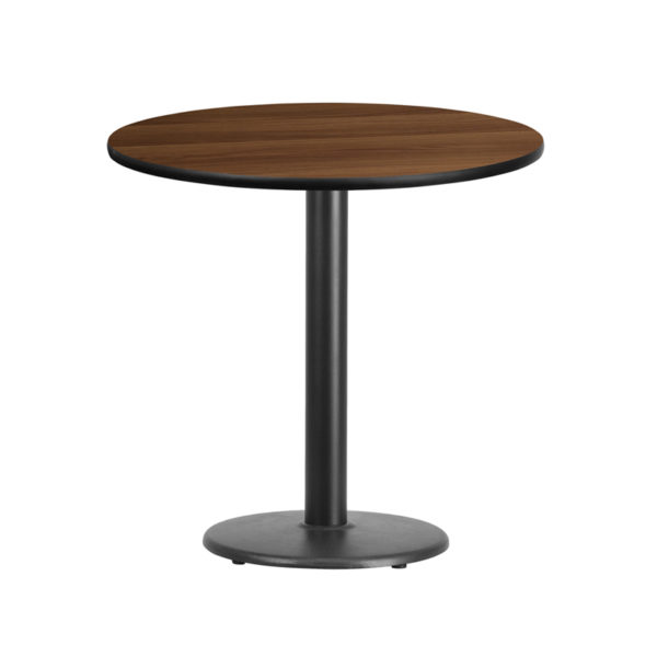 Wholesale 30'' Round Walnut Laminate Table Top with 18'' Round Table Height Base