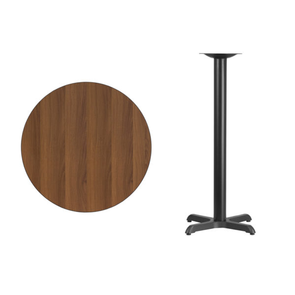 Lowest Price 30'' Round Walnut Laminate Table Top with 22'' x 22'' Bar Height Table Base