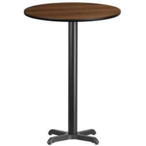 Wholesale 30'' Round Walnut Laminate Table Top with 22'' x 22'' Bar Height Table Base