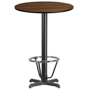 Wholesale 30'' Round Walnut Laminate Table Top with 22'' x 22'' Bar Height Table Base and Foot Ring