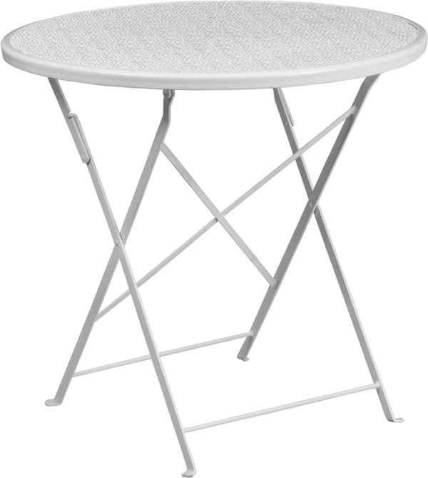 Wholesale 30'' Round White Indoor-Outdoor Steel Folding Patio Table