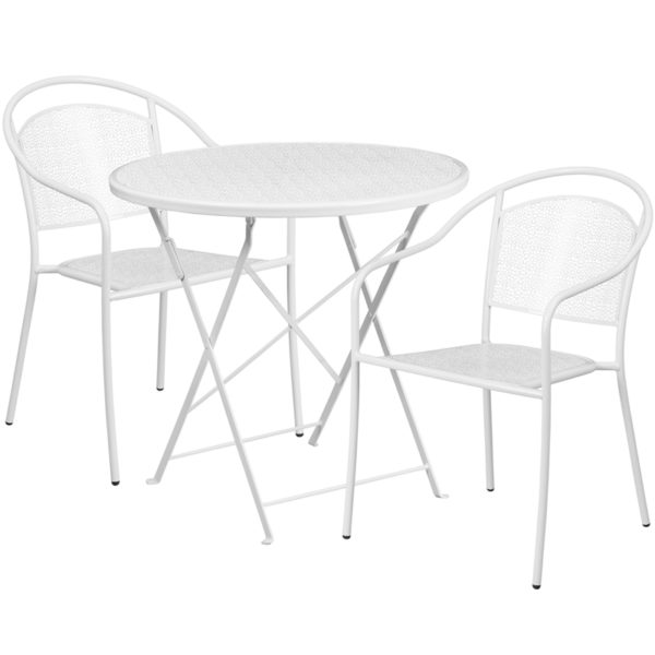 Wholesale 30'' Round White Indoor-Outdoor Steel Folding Patio Table Set with 2 Round Back Chairs
