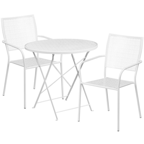 Wholesale 30'' Round White Indoor-Outdoor Steel Folding Patio Table Set with 2 Square Back Chairs