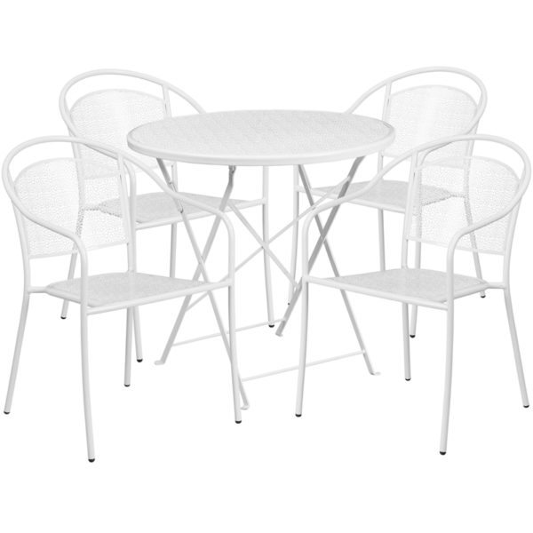 Wholesale 30'' Round White Indoor-Outdoor Steel Folding Patio Table Set with 4 Round Back Chairs