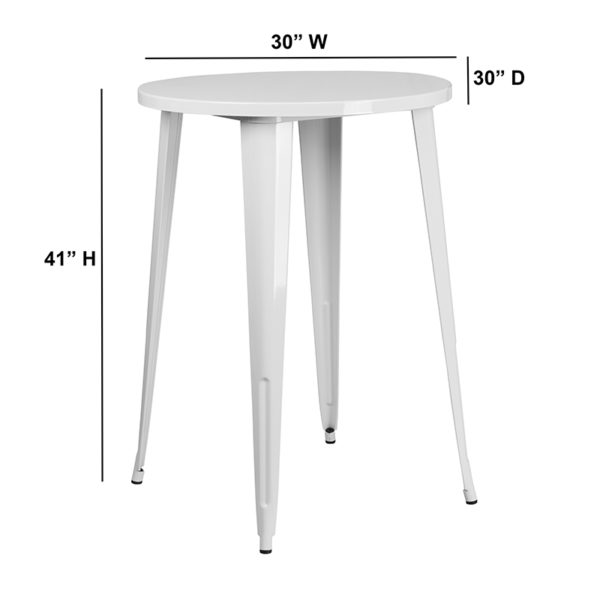Lowest Price 30'' Round White Metal Indoor-Outdoor Bar Height Table