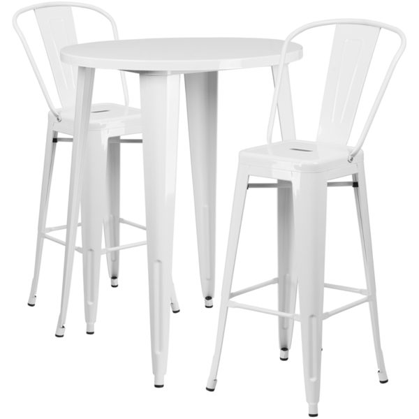 Lowest Price 30'' Round White Metal Indoor-Outdoor Bar Table Set with 2 Cafe Stools