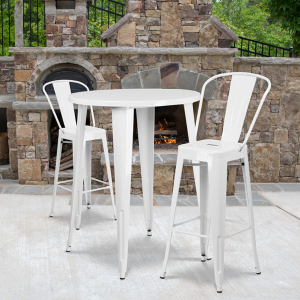 Wholesale 30'' Round White Metal Indoor-Outdoor Bar Table Set with 2 Cafe Stools