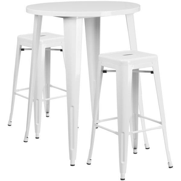 Lowest Price 30'' Round White Metal Indoor-Outdoor Bar Table Set with 2 Square Seat Backless Stools