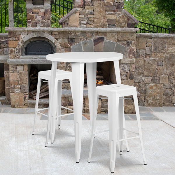 Wholesale 30'' Round White Metal Indoor-Outdoor Bar Table Set with 2 Square Seat Backless Stools