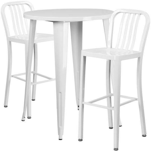 Lowest Price 30'' Round White Metal Indoor-Outdoor Bar Table Set with 2 Vertical Slat Back Stools