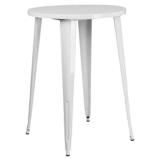 Bar Height Table and Stool Set 30RD White Metal Bar Set
