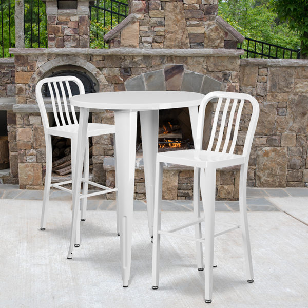 Wholesale 30'' Round White Metal Indoor-Outdoor Bar Table Set with 2 Vertical Slat Back Stools