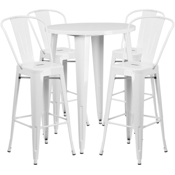 Lowest Price 30'' Round White Metal Indoor-Outdoor Bar Table Set with 4 Cafe Stools