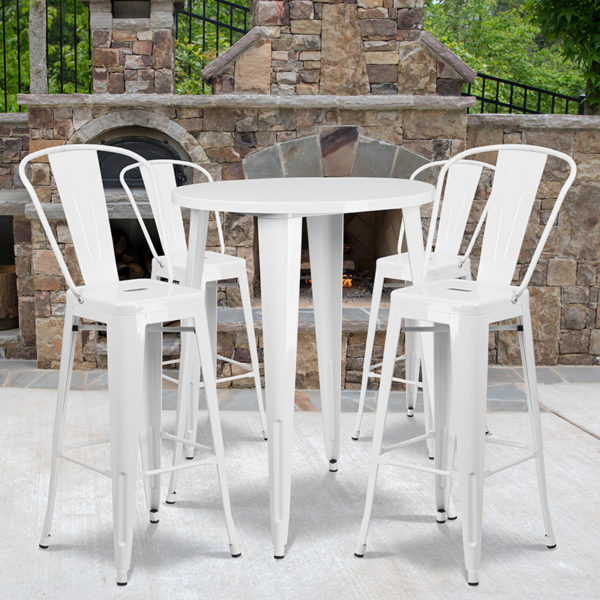 Wholesale 30'' Round White Metal Indoor-Outdoor Bar Table Set with 4 Cafe Stools