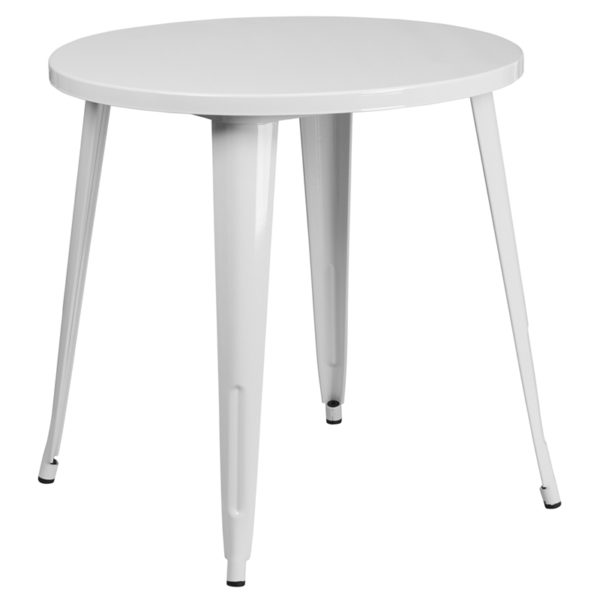 Wholesale 30'' Round White Metal Indoor-Outdoor Table