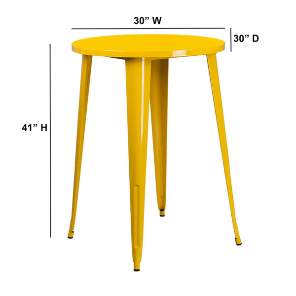Lowest Price 30'' Round Yellow Metal Indoor-Outdoor Bar Height Table