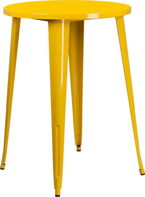 Wholesale 30'' Round Yellow Metal Indoor-Outdoor Bar Height Table