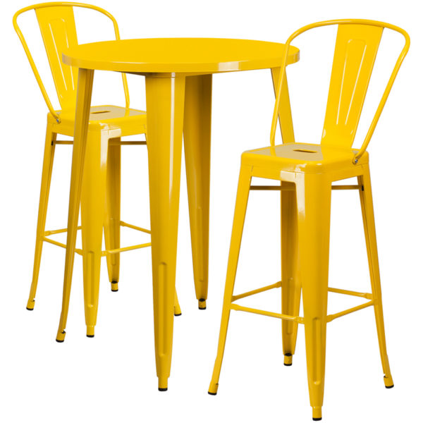 Lowest Price 30'' Round Yellow Metal Indoor-Outdoor Bar Table Set with 2 Cafe Stools