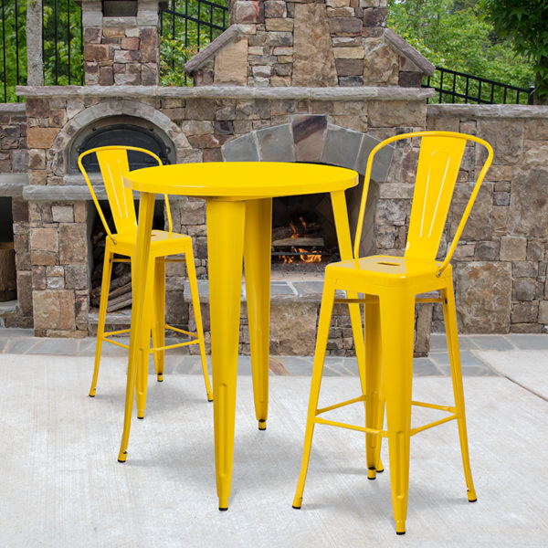 Wholesale 30'' Round Yellow Metal Indoor-Outdoor Bar Table Set with 2 Cafe Stools
