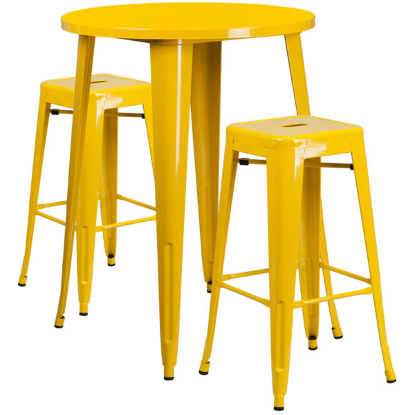 Lowest Price 30'' Round Yellow Metal Indoor-Outdoor Bar Table Set with 2 Square Seat Backless Stools