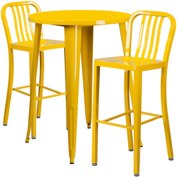 Lowest Price 30'' Round Yellow Metal Indoor-Outdoor Bar Table Set with 2 Vertical Slat Back Stools