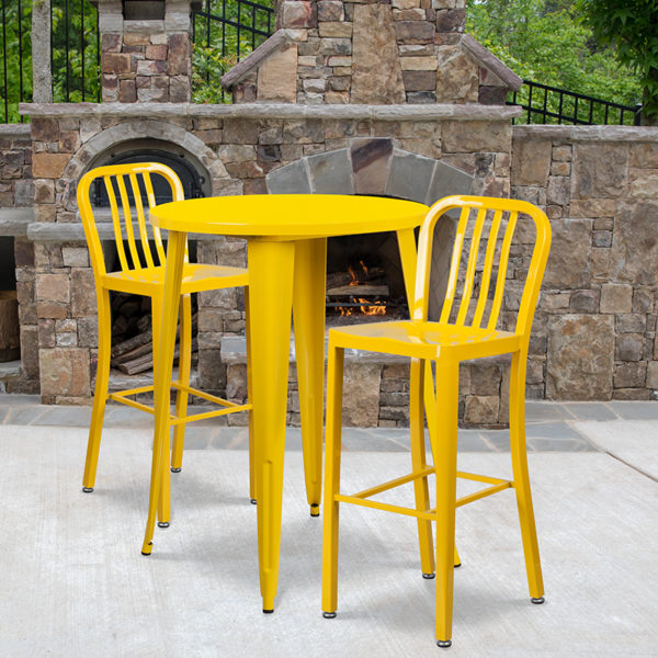 Wholesale 30'' Round Yellow Metal Indoor-Outdoor Bar Table Set with 2 Vertical Slat Back Stools
