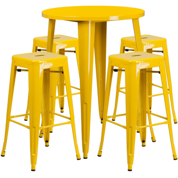 Lowest Price 30'' Round Yellow Metal Indoor-Outdoor Bar Table Set with 4 Square Seat Backless Stools