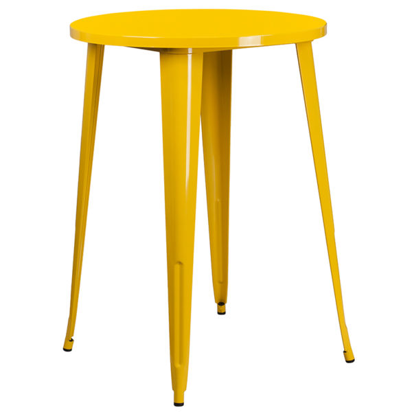 Bar Height Table and Stool Set 30RD Yellow Metal Bar Set