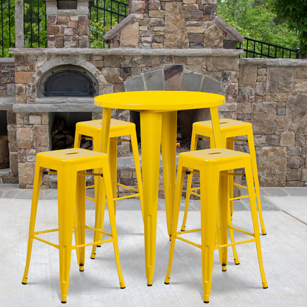 Wholesale 30'' Round Yellow Metal Indoor-Outdoor Bar Table Set with 4 Square Seat Backless Stools