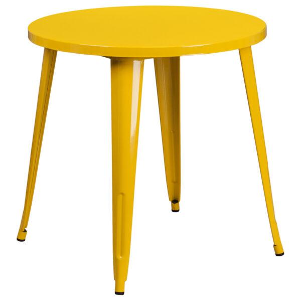 Wholesale 30'' Round Yellow Metal Indoor-Outdoor Table
