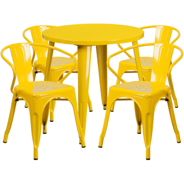 Wholesale 30'' Round Yellow Metal Indoor-Outdoor Table Set with 4 Arm Chairs