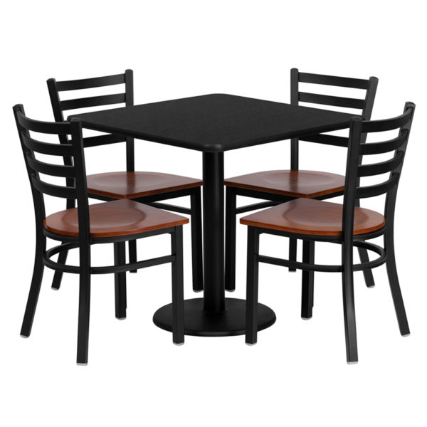 Lowest Price 30'' Square Black Laminate Table Set with 4 Ladder Back Metal Chairs - Cherry Wood Seat