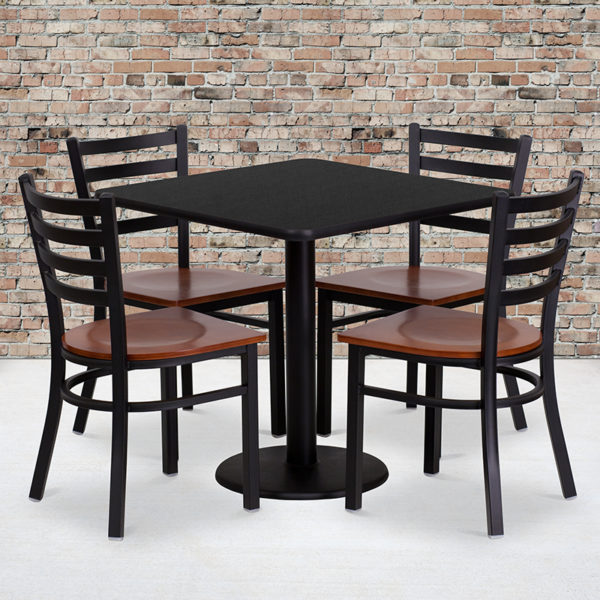 Wholesale 30'' Square Black Laminate Table Set with 4 Ladder Back Metal Chairs - Cherry Wood Seat