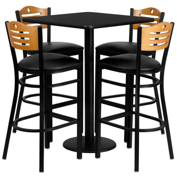Lowest Price 30'' Square Black Laminate Table Set with 4 Wood Slat Back Metal Barstools - Black Vinyl Seat