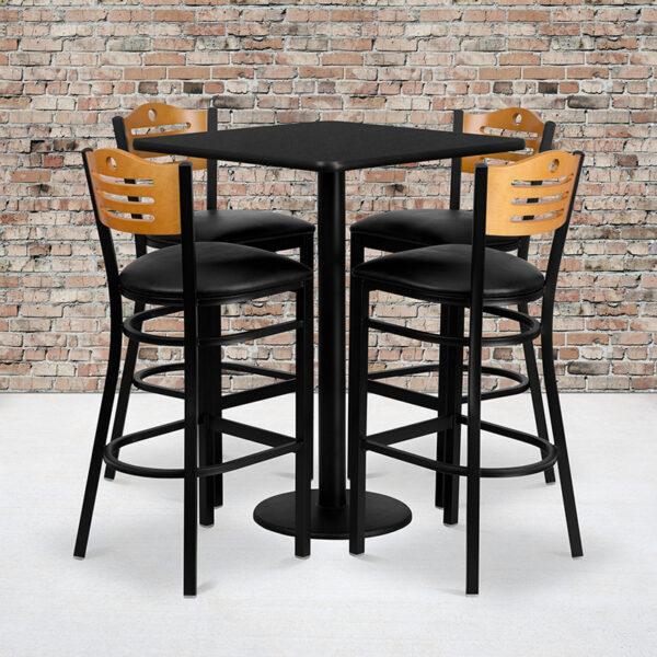 Wholesale 30'' Square Black Laminate Table Set with 4 Wood Slat Back Metal Barstools - Black Vinyl Seat