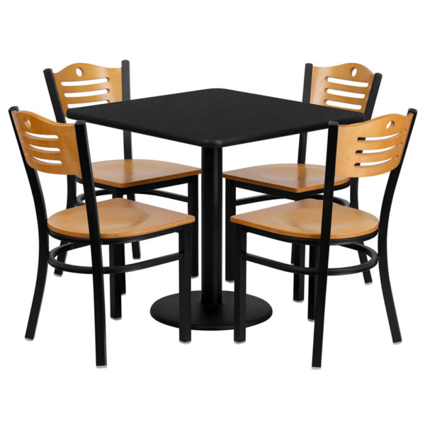 Lowest Price 30'' Square Black Laminate Table Set with 4 Wood Slat Back Metal Chairs - Natural Wood Seat