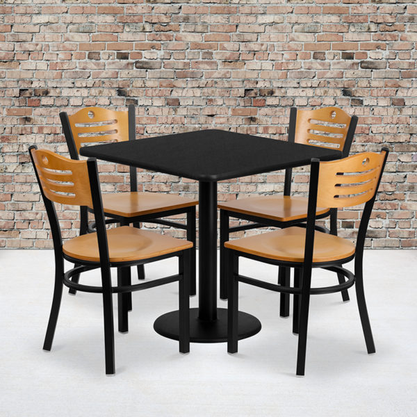 Wholesale 30'' Square Black Laminate Table Set with 4 Wood Slat Back Metal Chairs - Natural Wood Seat