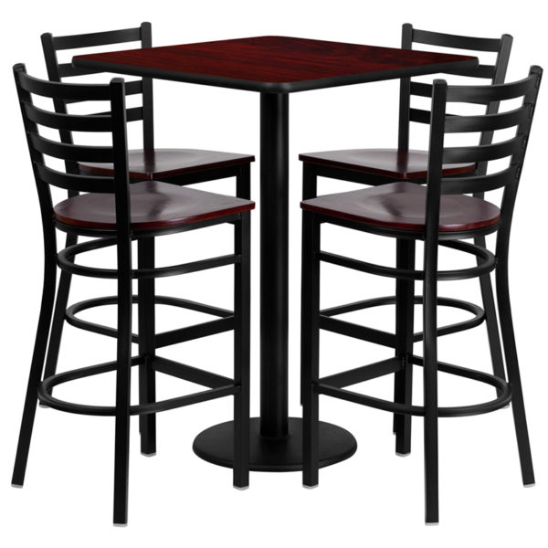 Lowest Price 30'' Square Mahogany Laminate Table Set with 4 Ladder Back Metal Barstools - Mahogany Wood Seat