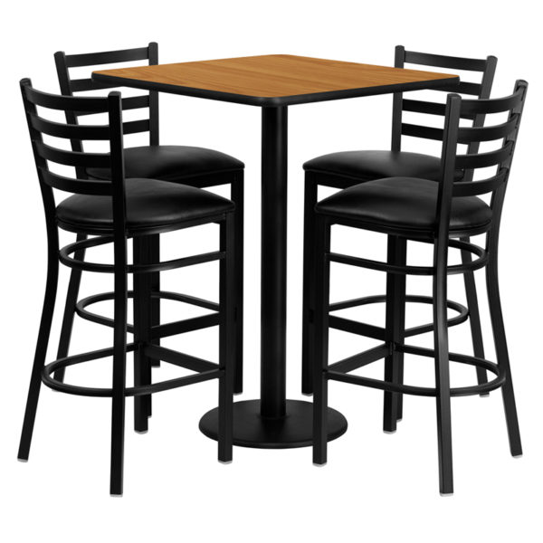Lowest Price 30'' Square Natural Laminate Table Set with 4 Ladder Back Metal Barstools - Black Vinyl Seat