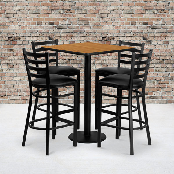 Wholesale 30'' Square Natural Laminate Table Set with 4 Ladder Back Metal Barstools - Black Vinyl Seat