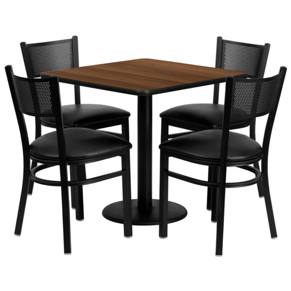 Lowest Price 30'' Square Walnut Laminate Table Set with 4 Grid Back Metal Chairs - Black Vinyl Seat